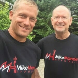 Mike and Chris outside selfie square
